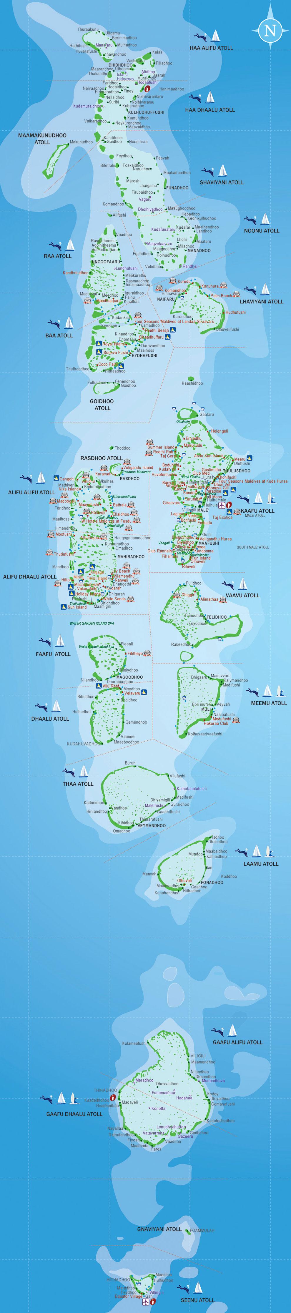 Карта Мальдивских островов